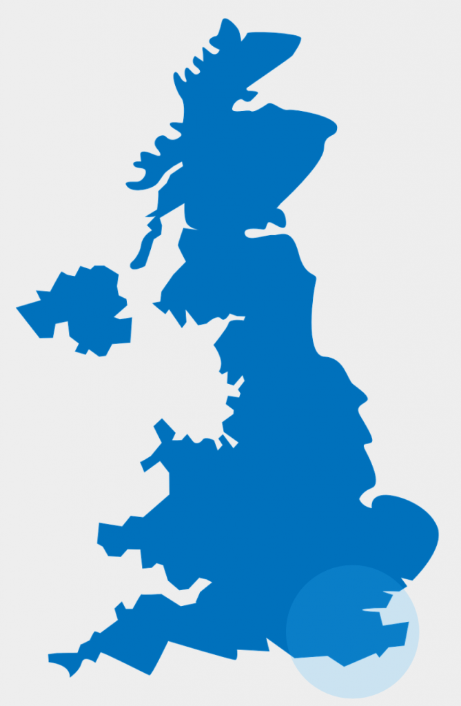 South East England highlighted on the map